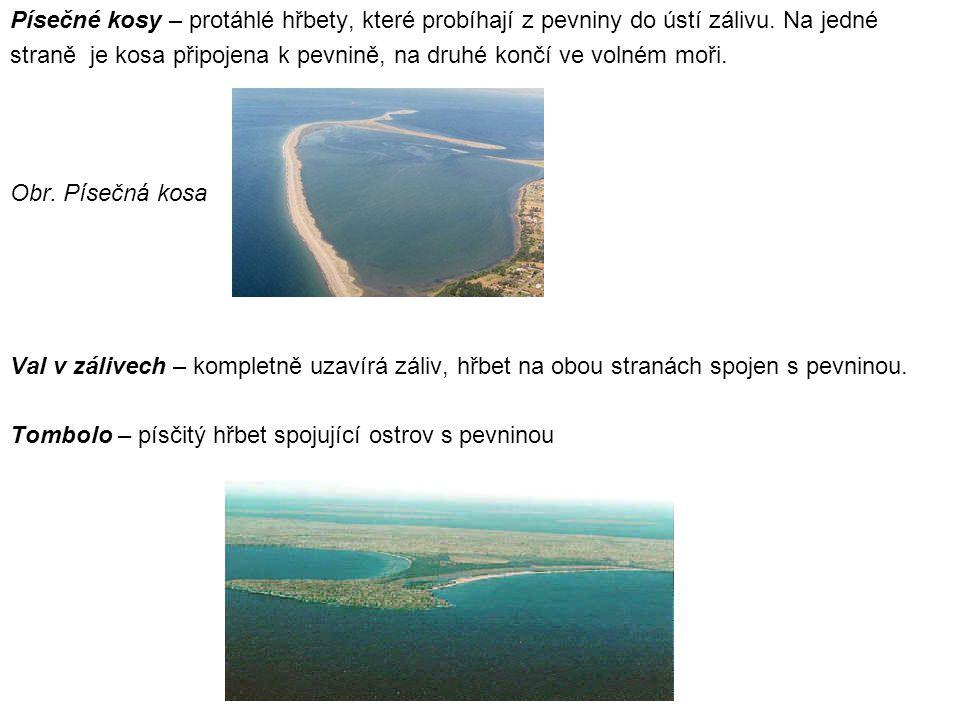 Písečné kosy – protáhlé hřbety, které probíhají z pevniny do ústí zálivu.