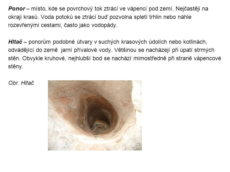 Ponor – místo, kde se povrchový tok ztrácí ve vápenci pod zemí. Nejčastěji na okraji krasů. Voda potoků se ztrácí buď pozvolna spletí trhlin nebo náhl