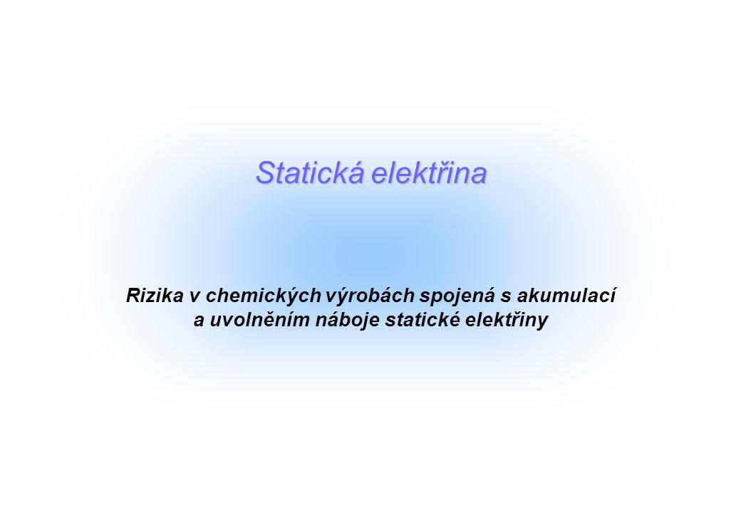 Statická elektřina Rizika v chemických výrobách spojená s akumulací a uvolněním náboje statické elektřiny