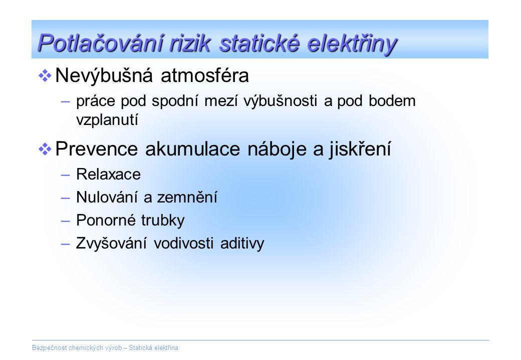 Bezpečnost chemických výrob – Statická elektřina Potlačování rizik statické elektřiny  Nevýbušná atmosféra –práce pod spodní mezí výbušnosti a pod bo