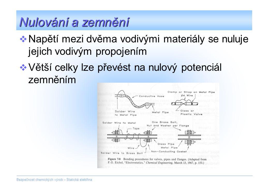 Bezpečnost chemických výrob – Statická elektřina Nulování a zemnění  Napětí mezi dvěma vodivými materiály se nuluje jejich vodivým propojením  Větší