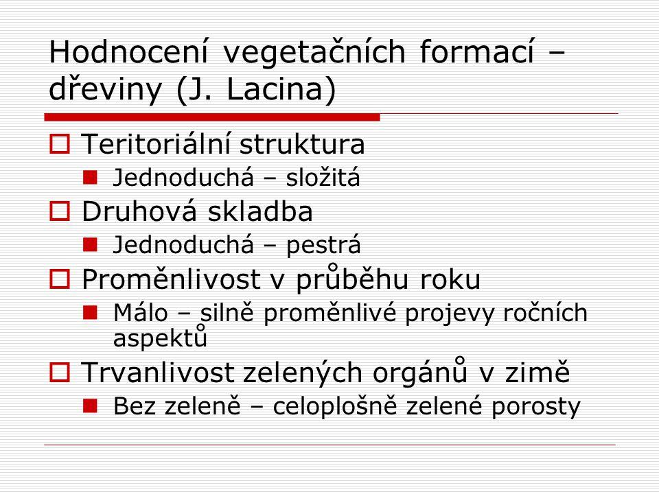Hodnocení vegetačních formací – dřeviny (J. Lacina)  Teritoriální struktura Jednoduchá – složitá  Druhová skladba Jednoduchá – pestrá  Proměnlivost