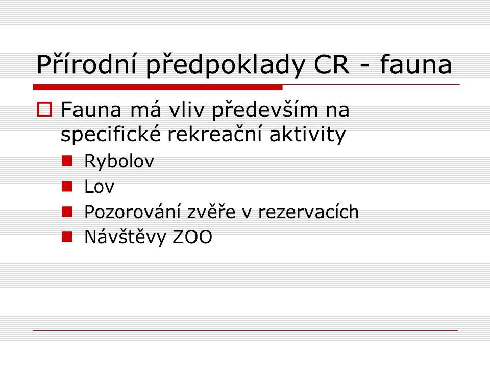 Přírodní předpoklady CR - fauna  Fauna má vliv především na specifické rekreační aktivity Rybolov Lov Pozorování zvěře v rezervacích Návštěvy ZOO