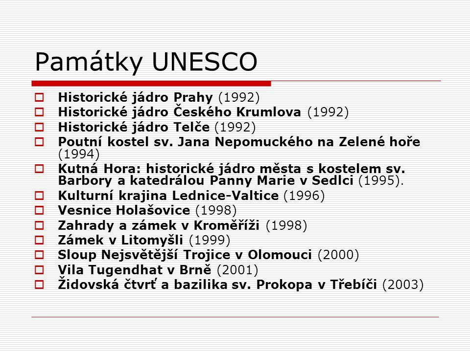 Památky UNESCO  Historické jádro Prahy (1992)  Historické jádro Českého Krumlova (1992)  Historické jádro Telče (1992)  Poutní kostel sv. Jana Nep