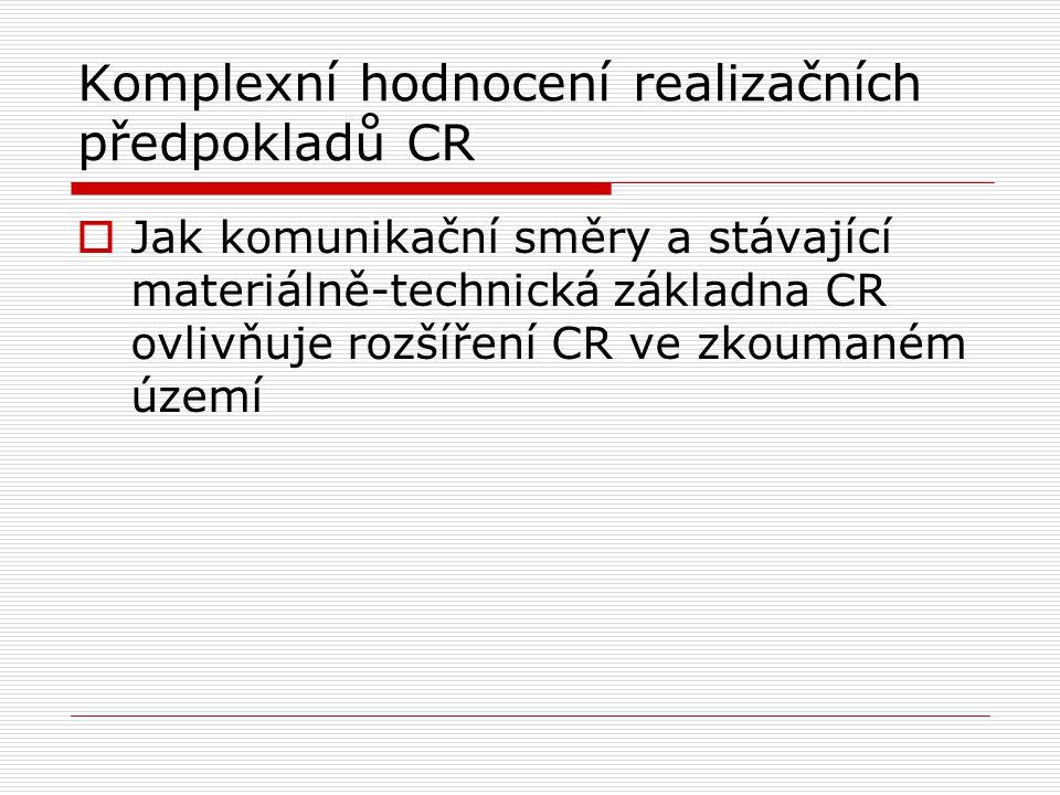 Komplexní hodnocení realizačních předpokladů CR  Jak komunikační směry a stávající materiálně-technická základna CR ovlivňuje rozšíření CR ve zkouman
