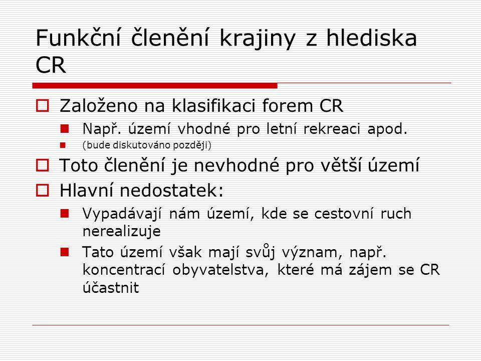 Funkční členění krajiny z hlediska CR  Založeno na klasifikaci forem CR Např. území vhodné pro letní rekreaci apod. (bude diskutováno později)  Toto