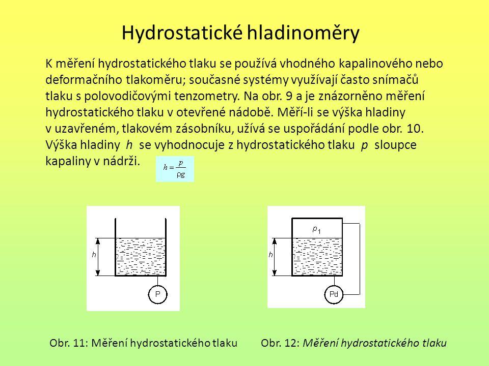 Hydrostatické hladinoměry K měření hydrostatického tlaku se používá vhodného kapalinového nebo deformačního tlakoměru; současné systémy využívají často snímačů tlaku s polovodičovými tenzometry.