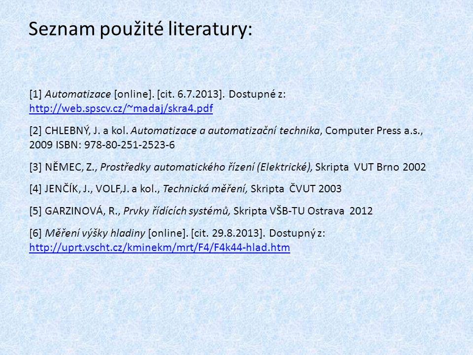 Seznam použité literatury: [1] Automatizace [online].
