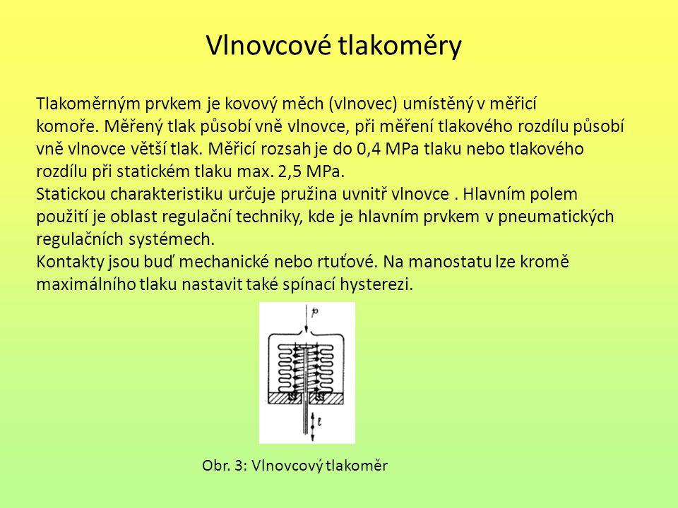 Vlnovcové tlakoměry Tlakoměrným prvkem je kovový měch (vlnovec) umístěný v měřicí komoře.