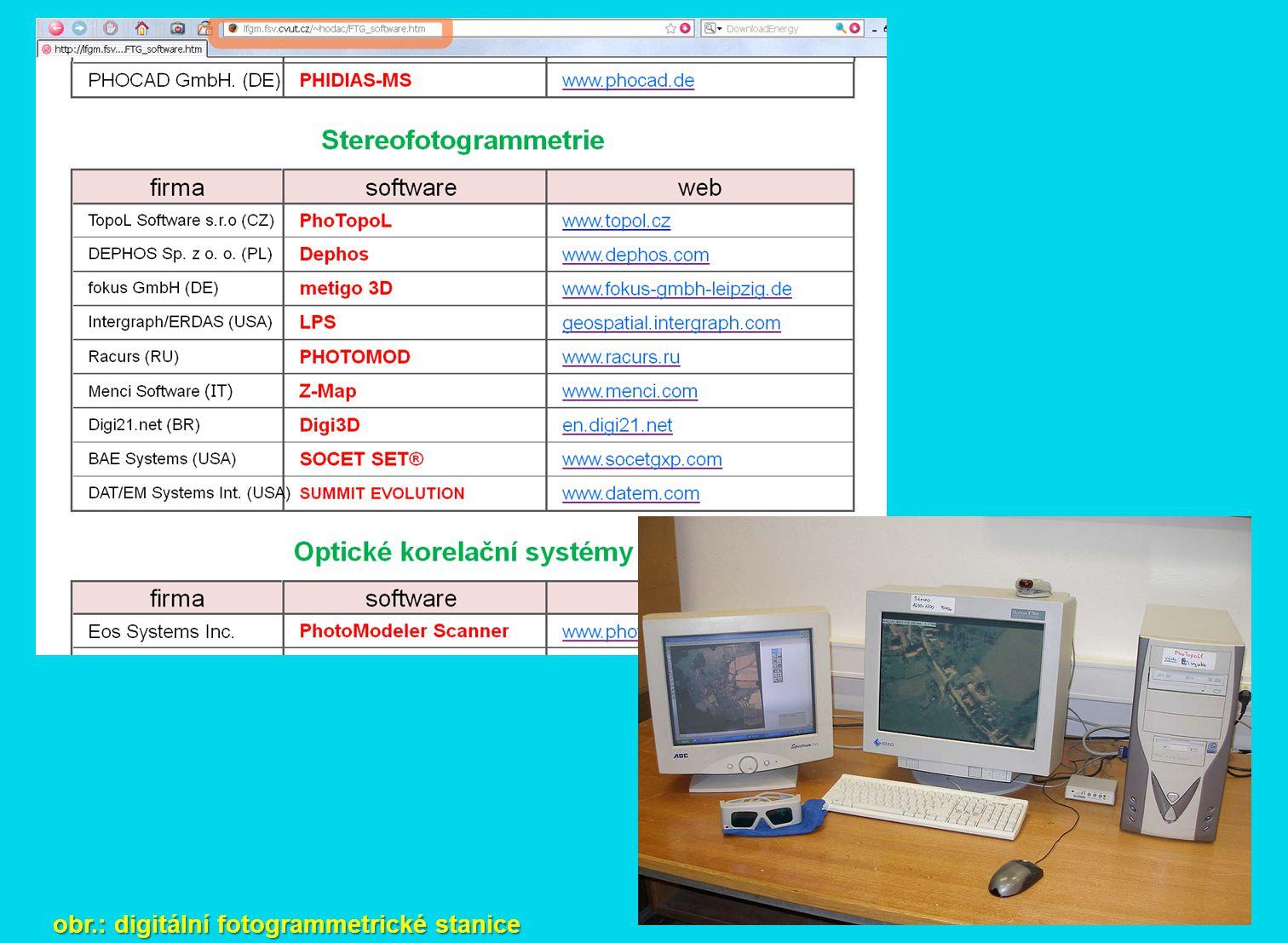 obr.: digitální fotogrammetrické stanice