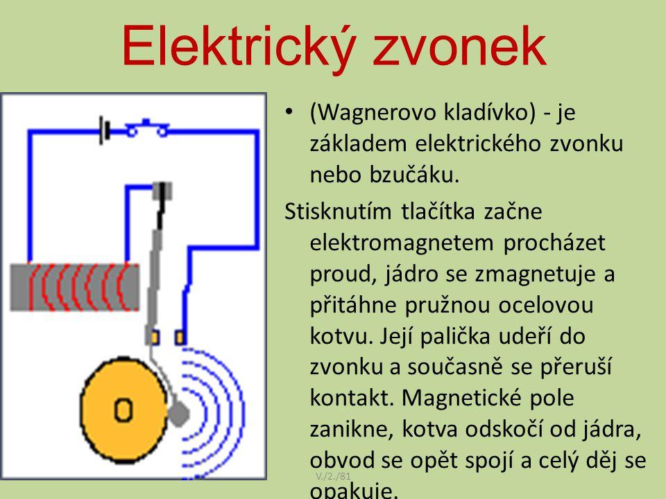 Elektrický zvonek V./2./81 (Wagnerovo kladívko) - je základem elektrického zvonku nebo bzučáku. Stisknutím tlačítka začne elektromagnetem procházet pr