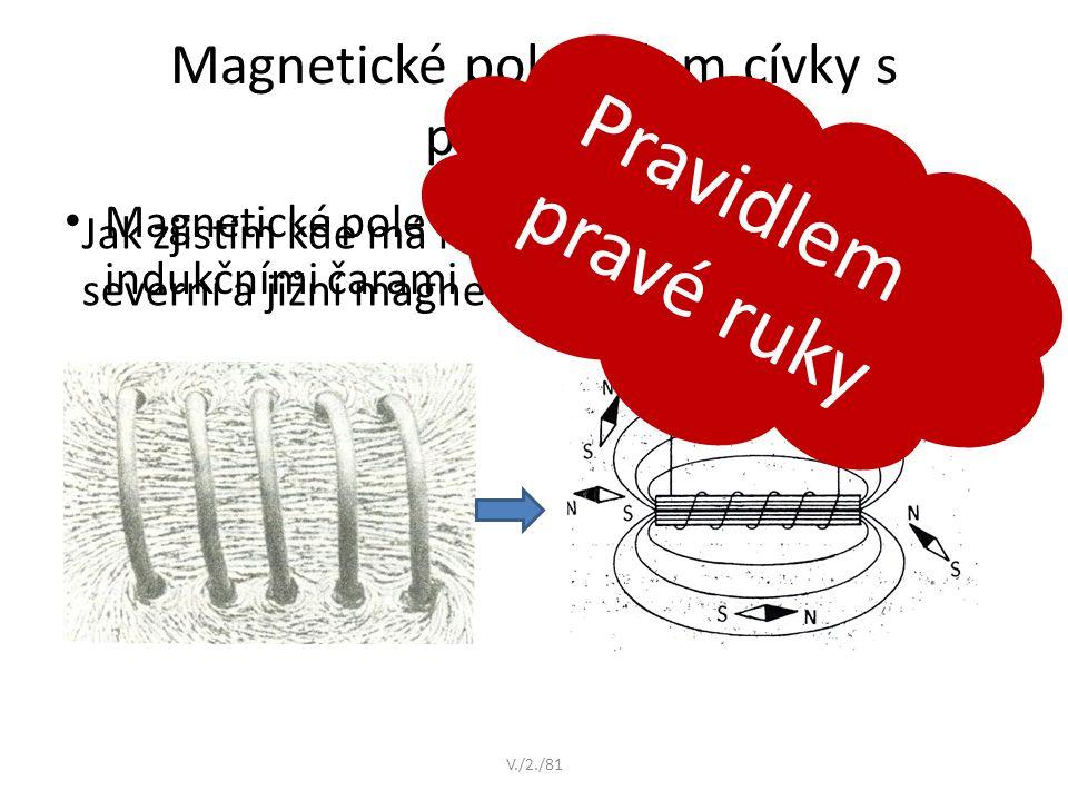 Magnetické pole kolem cívky s proudem Magnetické pole cívky můžeme znázornit indukčními čarami V./2./81 Jak zjistím kde má magnetické pole cívky sever