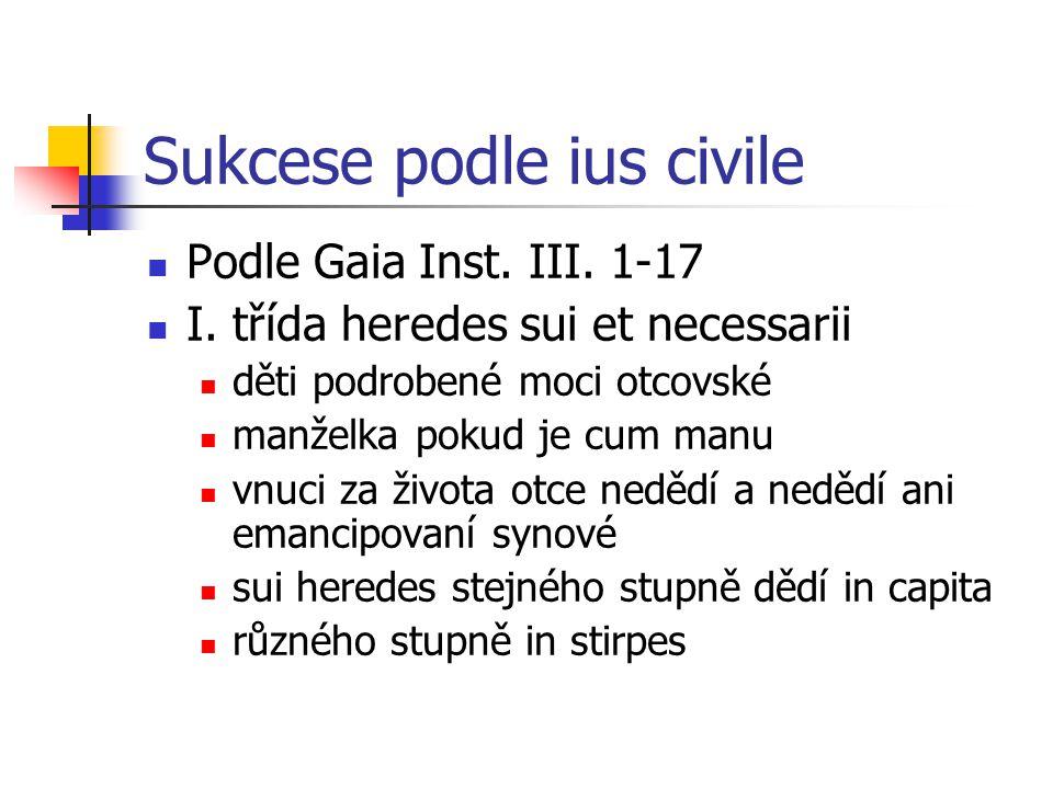 Sukcese podle ius civile Podle Gaia Inst. III. 1-17 I. třída heredes sui et necessarii děti podrobené moci otcovské manželka pokud je cum manu vnuci z
