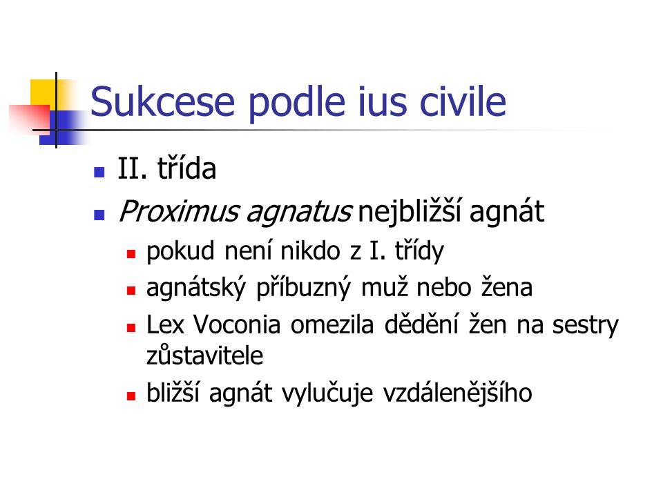 Sukcese podle ius civile II. třída Proximus agnatus nejbližší agnát pokud není nikdo z I. třídy agnátský příbuzný muž nebo žena Lex Voconia omezila dě