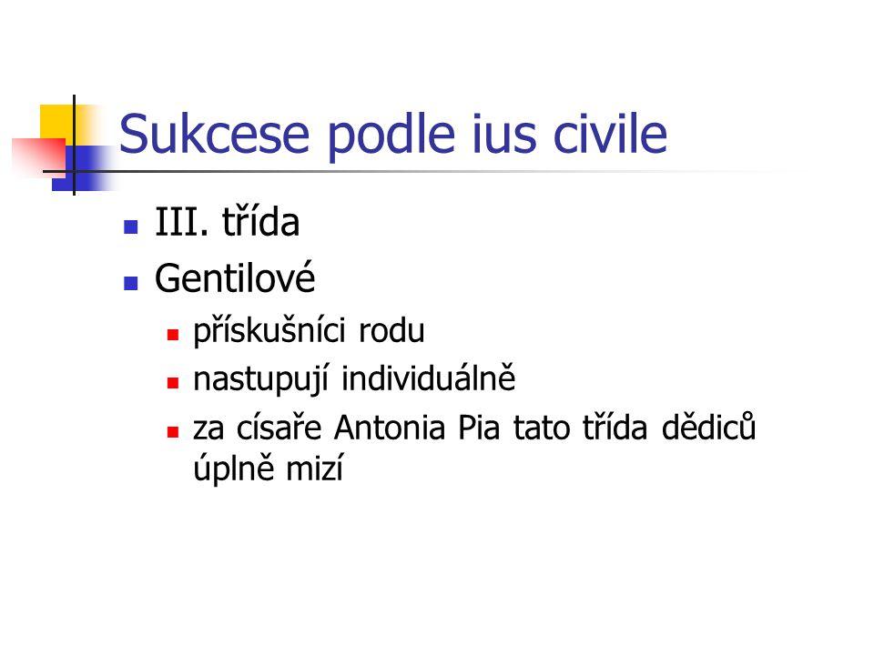 Sukcese podle ius civile III. třída Gentilové přískušníci rodu nastupují individuálně za císaře Antonia Pia tato třída dědiců úplně mizí