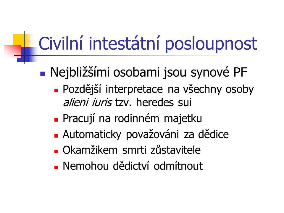 Civilní intestátní posloupnost Nejbližšími osobami jsou synové PF Pozdější interpretace na všechny osoby alieni iuris tzv. heredes sui Pracují na rodi