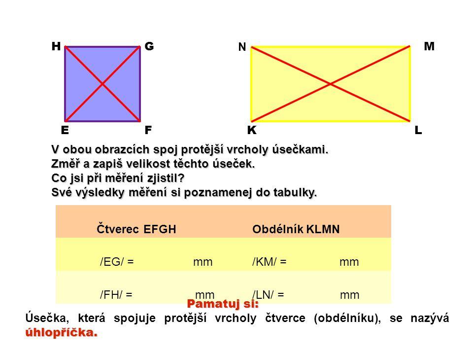 Vyznač u čtverců i obdélníků jejich úhlopříčky Vyznač u čtverců a obdélníků jejich úhlopříčky