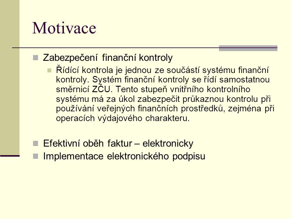 Motivace Zabezpečení finanční kontroly Řídící kontrola je jednou ze součástí systému finanční kontroly. Systém finanční kontroly se řídí samostatnou s