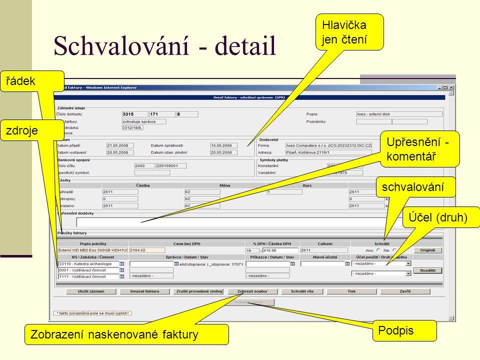 Schvalování - detail Hlavička jen čtení řádek zdroje Upřesnění - komentář schvalování Účel (druh) Podpis Zobrazení naskenované faktury