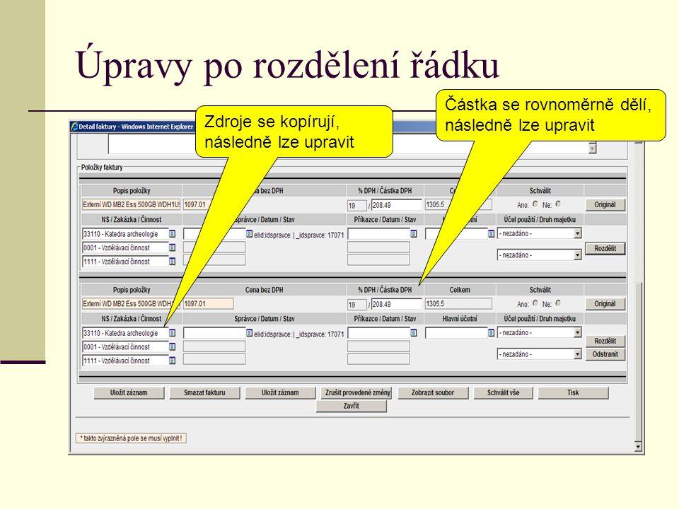 Úpravy po rozdělení řádku Zdroje se kopírují, následně lze upravit Částka se rovnoměrně dělí, následně lze upravit