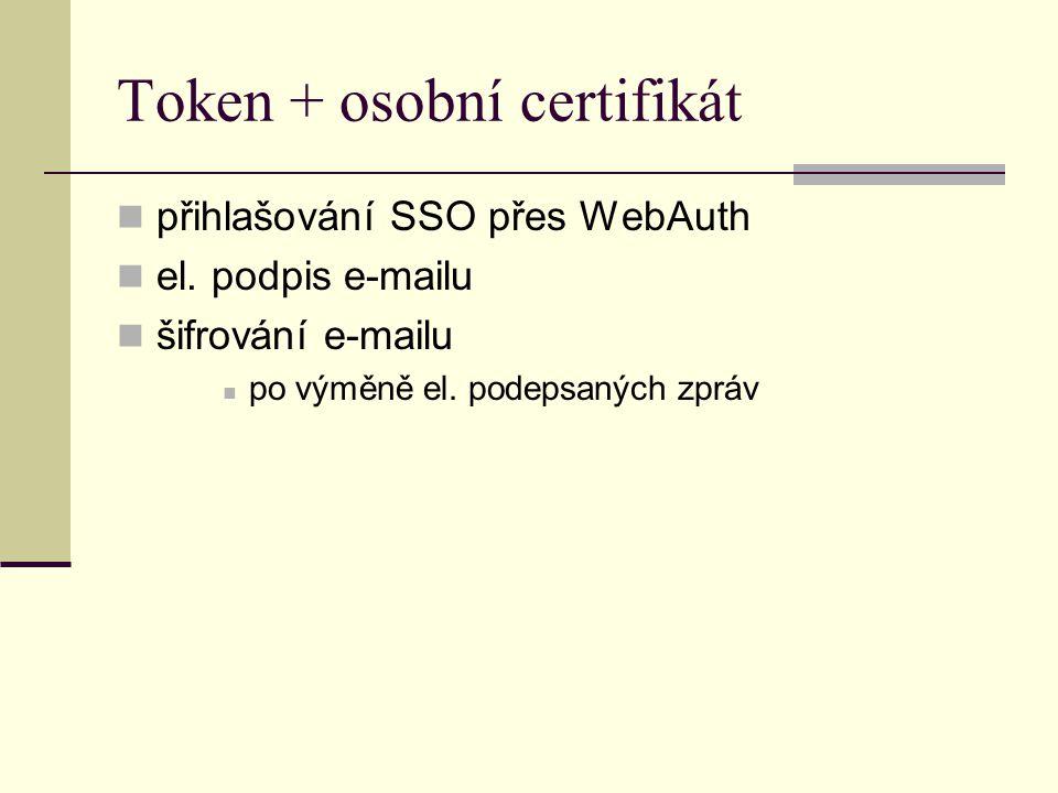 Token + osobní certifikát přihlašování SSO přes WebAuth el. podpis e-mailu šifrování e-mailu po výměně el. podepsaných zpráv