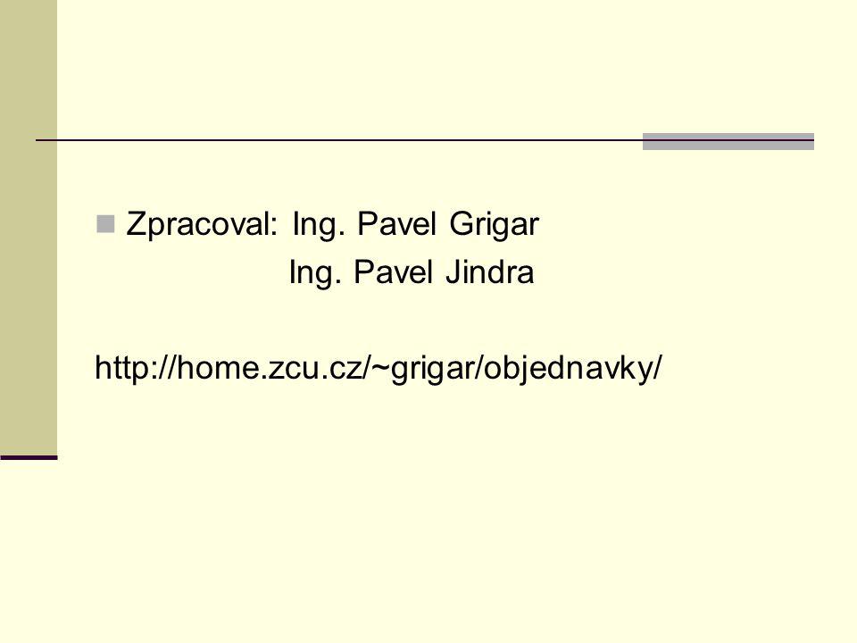 Zpracoval: Ing. Pavel Grigar Ing. Pavel Jindra http://home.zcu.cz/~grigar/objednavky/