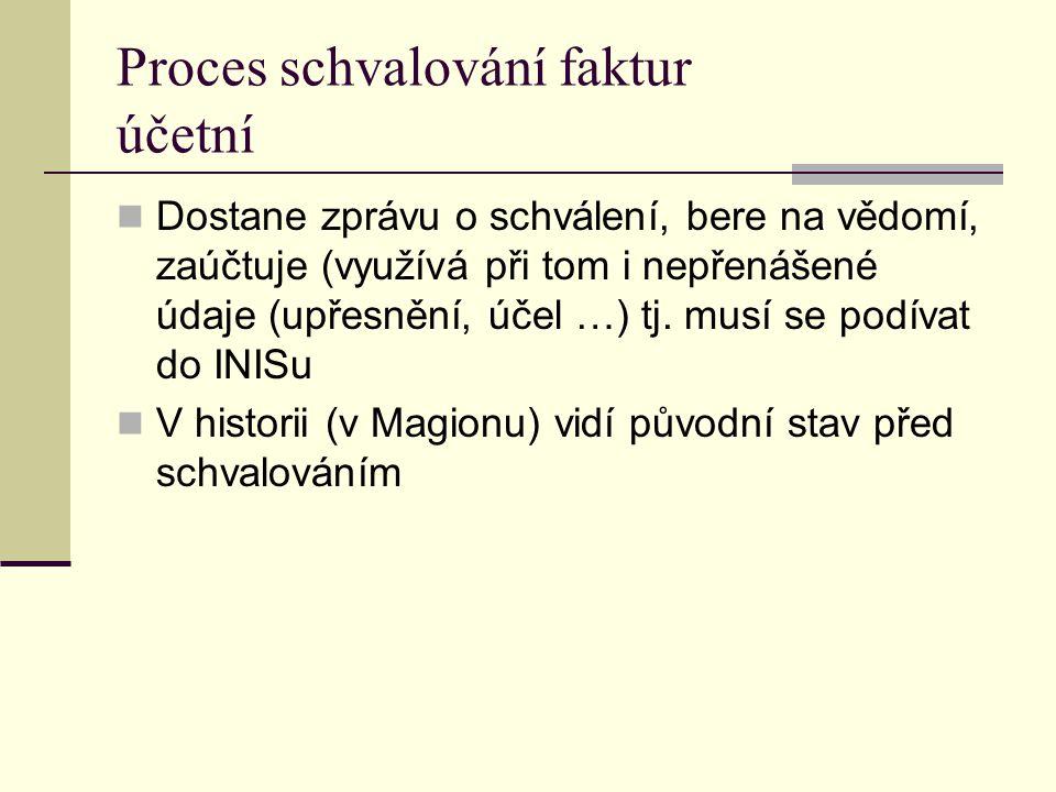Proces schvalování faktur účetní Dostane zprávu o schválení, bere na vědomí, zaúčtuje (využívá při tom i nepřenášené údaje (upřesnění, účel …) tj. mus