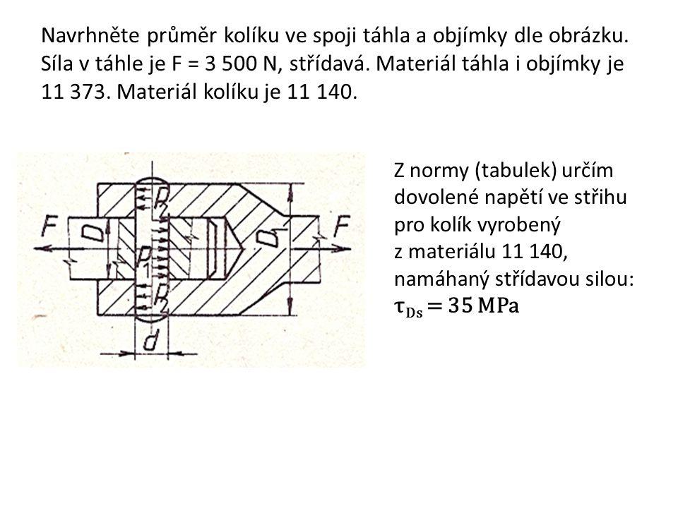 Navrhněte průměr kolíku ve spoji táhla a objímky dle obrázku. Síla v táhle je F = 3 500 N, střídavá. Materiál táhla i objímky je 11 373. Materiál kolí