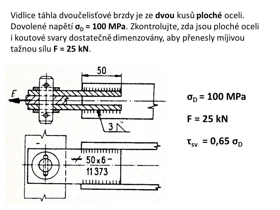 Vidlice táhla dvoučelisťové brzdy je ze dvou kusů ploché oceli. Dovolené napětí σ D = 100 MPa. Zkontrolujte, zda jsou ploché oceli i koutové svary dos