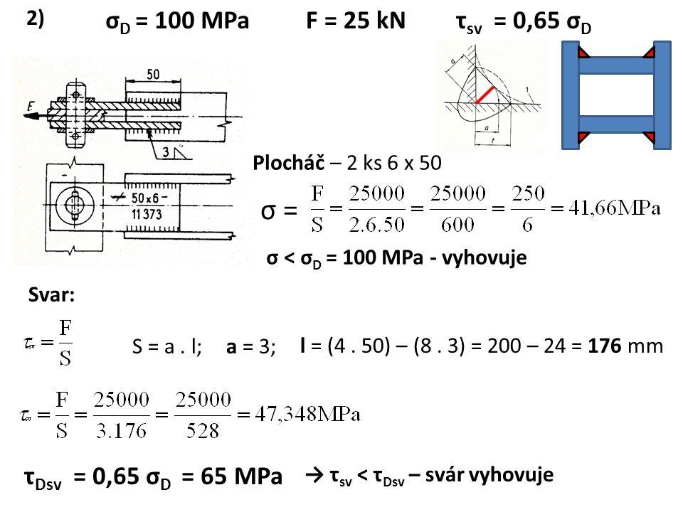 σ D = 100 MPaF = 25 kNτ sv = 0,65 σ D Plocháč – 2 ks 6 x 50 σ = σ < σ D = 100 MPa - vyhovuje S = a. l;a = 3; l = (4. 50) – (8. 3) = 200 – 24 = 176 mm