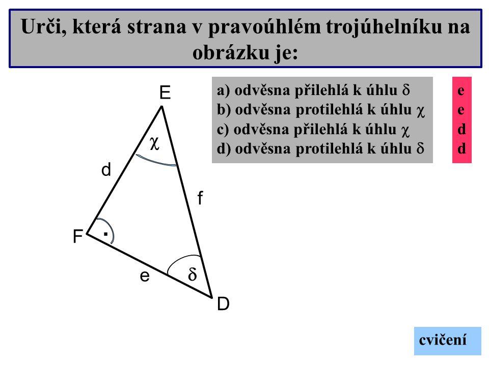 Urči, která strana v pravoúhlém trojúhelníku na obrázku je: R S T.