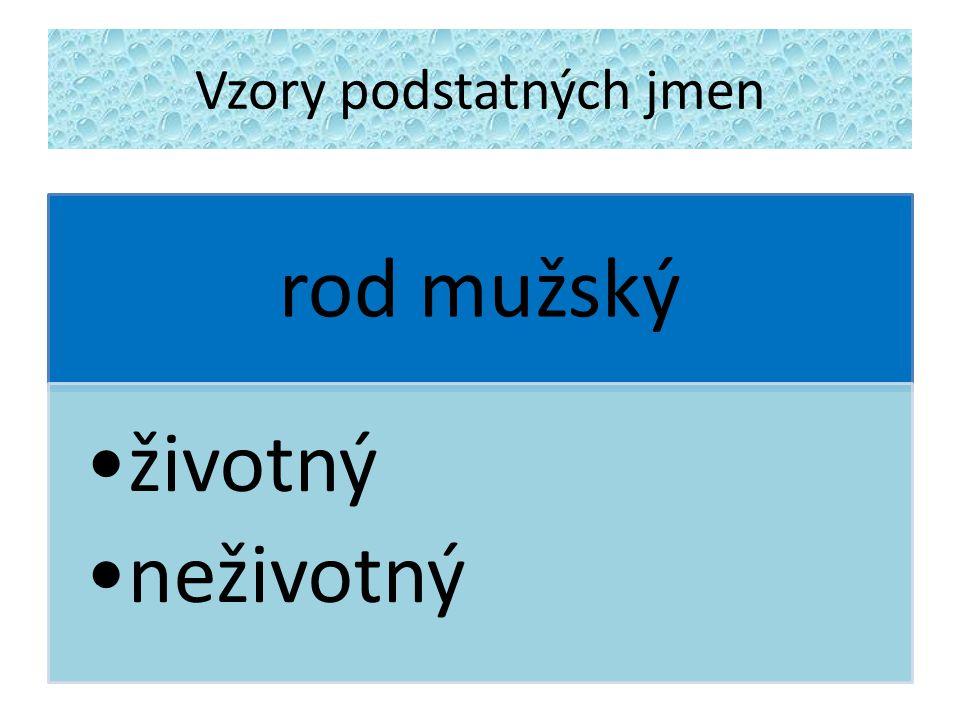 Vzory podstatných jmen Jak určím životnost, neživotnost podstatných jmen.
