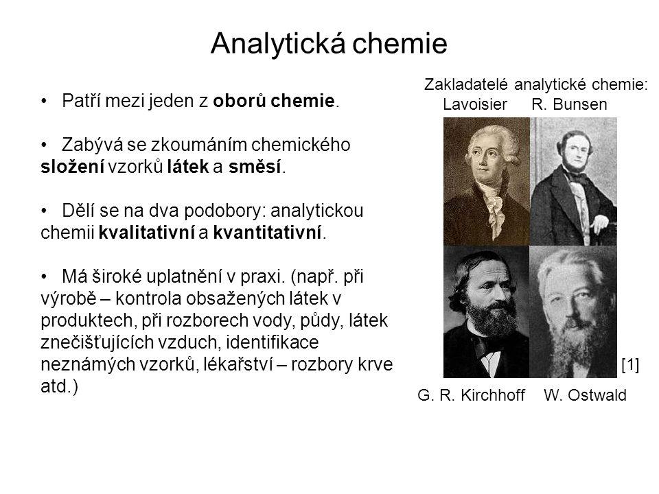 Analytická chemie Patří mezi jeden z oborů chemie. Zabývá se zkoumáním chemického složení vzorků látek a směsí. Dělí se na dva podobory: analytickou c