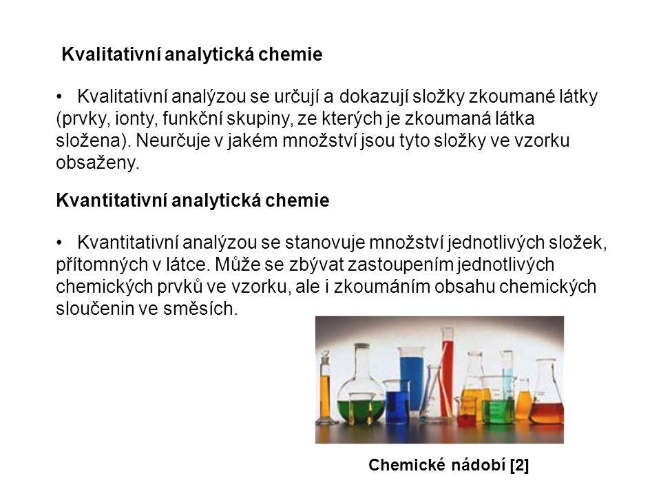 Kvalitativní analytická chemie Kvalitativní analýzou se určují a dokazují složky zkoumané látky (prvky, ionty, funkční skupiny, ze kterých je zkoumaná