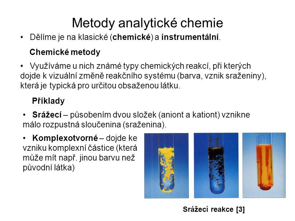 Metody analytické chemie Dělíme je na klasické (chemické) a instrumentální. Využíváme u nich známé typy chemických reakcí, při kterých dojde k vizuáln