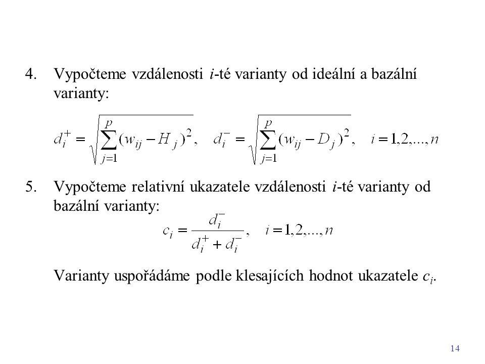 14 4.Vypočteme vzdálenosti i-té varianty od ideální a bazální varianty: 5.Vypočteme relativní ukazatele vzdálenosti i-té varianty od bazální varianty: