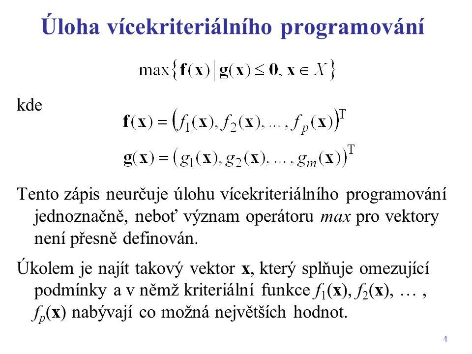 4 Úloha vícekriteriálního programování kde Tento zápis neurčuje úlohu vícekriteriálního programování jednoznačně, neboť význam operátoru max pro vekto