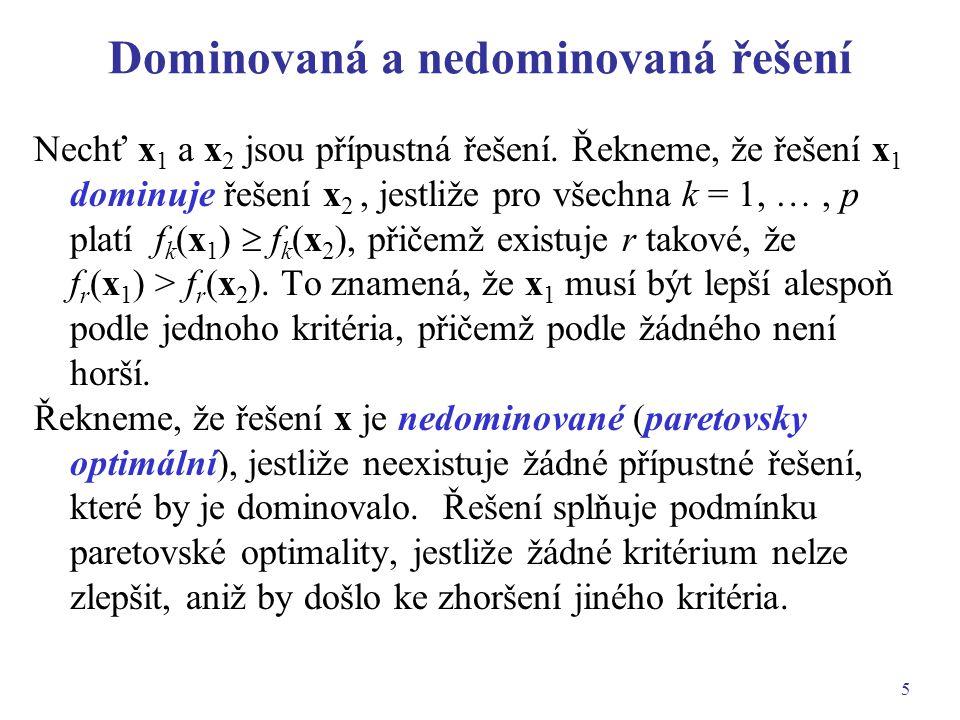 5 Dominovaná a nedominovaná řešení Nechť x 1 a x 2 jsou přípustná řešení. Řekneme, že řešení x 1 dominuje řešení x 2, jestliže pro všechna k = 1, …, p