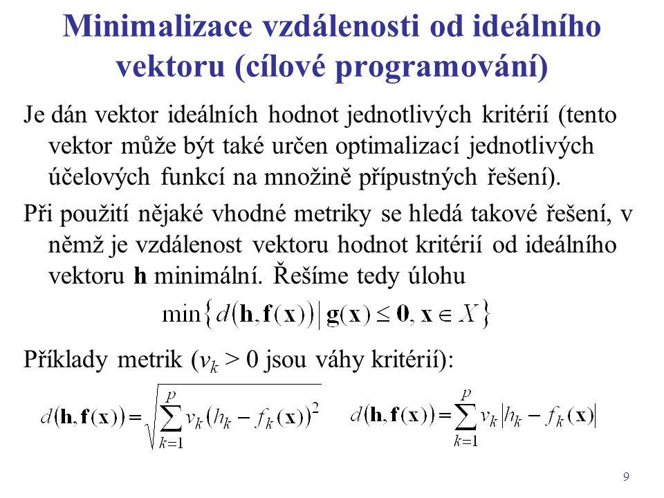 9 Minimalizace vzdálenosti od ideálního vektoru (cílové programování) Je dán vektor ideálních hodnot jednotlivých kritérií (tento vektor může být také