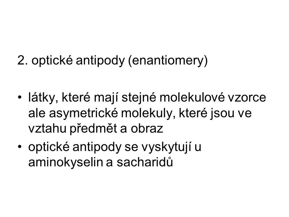 2. optické antipody (enantiomery) látky, které mají stejné molekulové vzorce ale asymetrické molekuly, které jsou ve vztahu předmět a obraz optické an