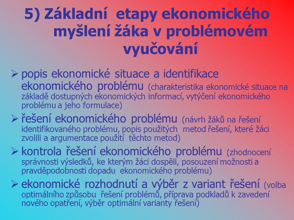5) Základní etapy ekonomického myšlení žáka v problémovém vyučování  popis ekonomické situace a identifikace ekonomického problému (charakteristika e