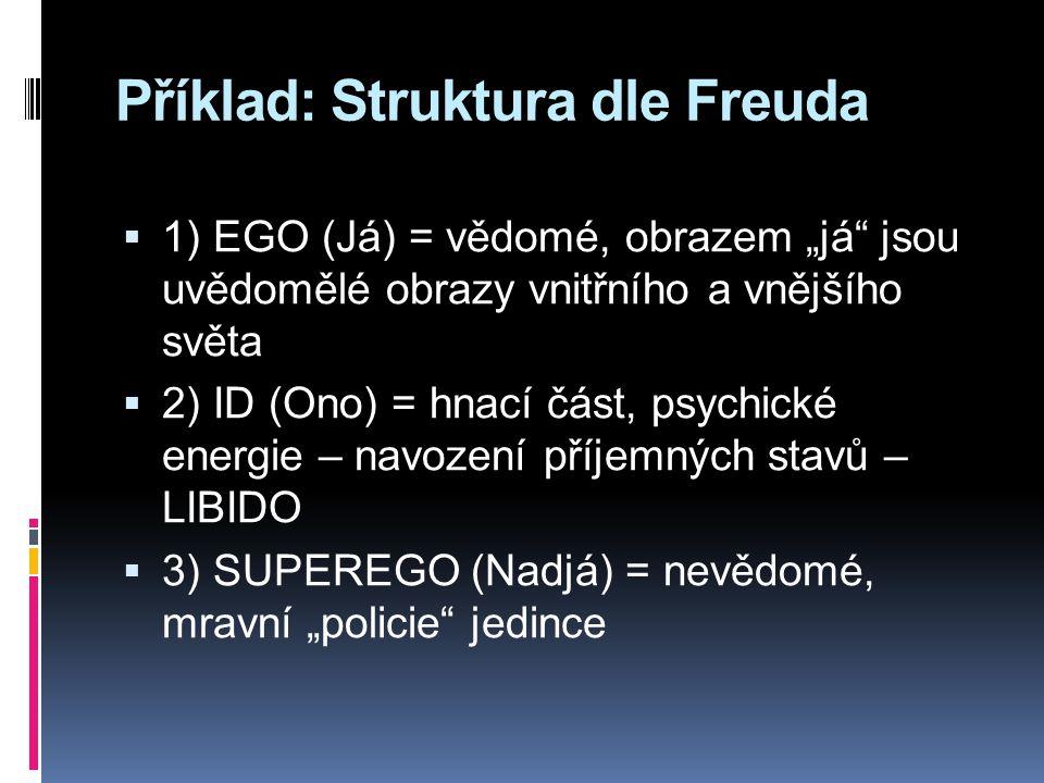 """Příklad: Struktura dle Freuda  1) EGO (Já) = vědomé, obrazem """"já jsou uvědomělé obrazy vnitřního a vnějšího světa  2) ID (Ono) = hnací část, psychické energie – navození příjemných stavů – LIBIDO  3) SUPEREGO (Nadjá) = nevědomé, mravní """"policie jedince"""