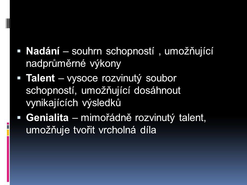  Nadání – souhrn schopností, umožňující nadprůměrné výkony  Talent – vysoce rozvinutý soubor schopností, umožňující dosáhnout vynikajících výsledků  Genialita – mimořádně rozvinutý talent, umožňuje tvořit vrcholná díla