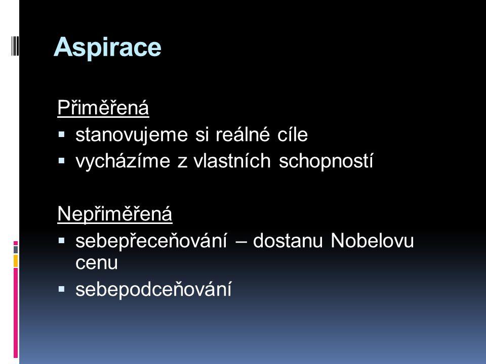 Aspirace Přiměřená  stanovujeme si reálné cíle  vycházíme z vlastních schopností Nepřiměřená  sebepřeceňování – dostanu Nobelovu cenu  sebepodceňování