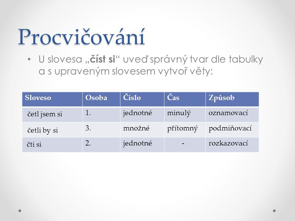 """Procvičování U slovesa """" číst si """" uveď správný tvar dle tabulky a s upraveným slovesem vytvoř věty: SlovesoOsobaČísloČasZpůsob 1.jednotnéminulýoznamo"""