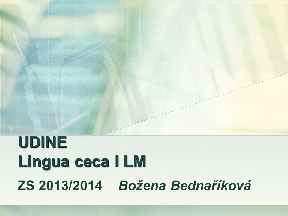 UDINE Lingua ceca I LM ZS 2013/2014 Božena Bednaříková