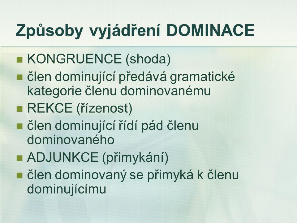Způsoby vyjádření DOMINACE KONGRUENCE (shoda) člen dominující předává gramatické kategorie členu dominovanému REKCE (řízenost) člen dominující řídí pá