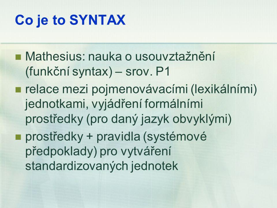 Co je to SYNTAX Mathesius: nauka o usouvztažnění (funkční syntax) – srov. P1 relace mezi pojmenovávacími (lexikálními) jednotkami, vyjádření formálním