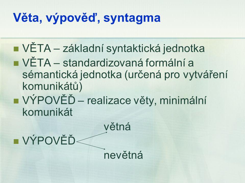 Věta, výpověď, syntagma VĚTA – základní syntaktická jednotka VĚTA – standardizovaná formální a sémantická jednotka (určená pro vytváření komunikátů) V