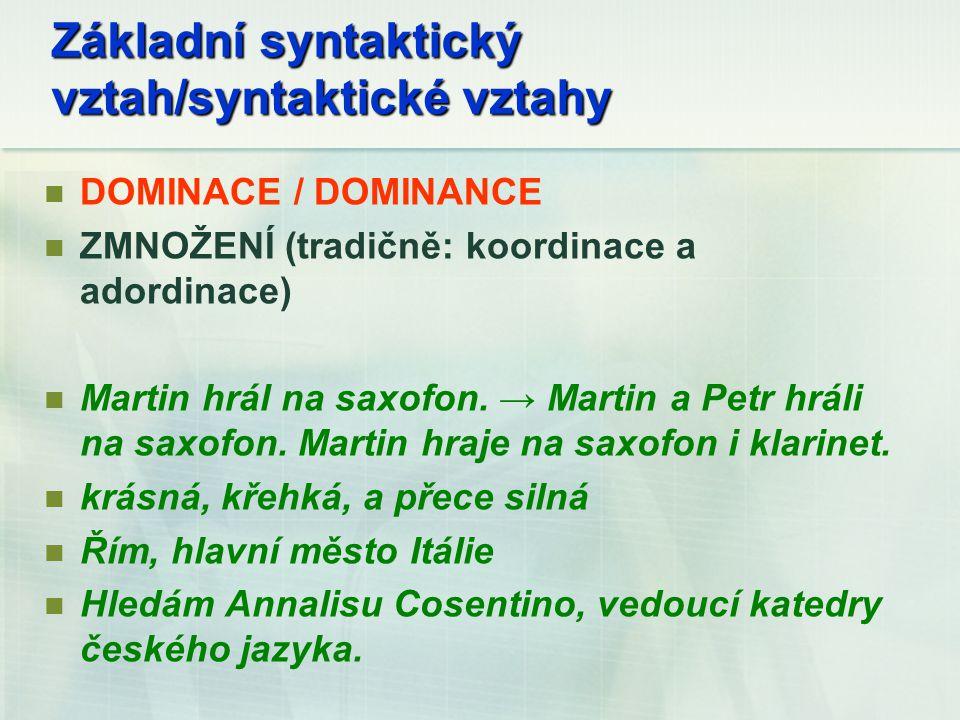 Základní syntaktický vztah/syntaktické vztahy DOMINACE / DOMINANCE ZMNOŽENÍ (tradičně: koordinace a adordinace) Martin hrál na saxofon. → Martin a Pet